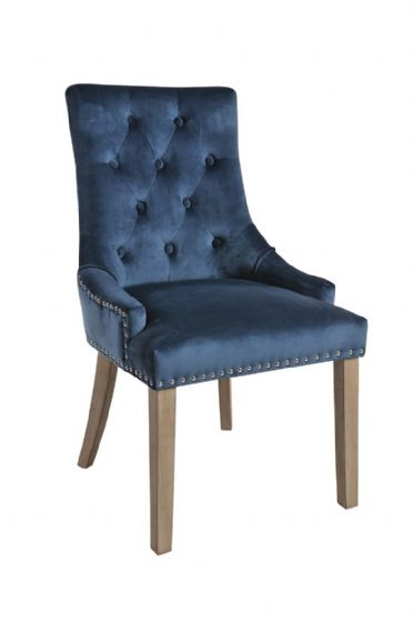 Duporth Blue Velvet Upholstered Chair - UK Mainland Delivery